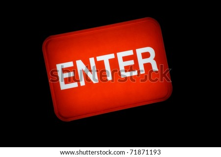 Backlit red enter sign or button. - stock photo