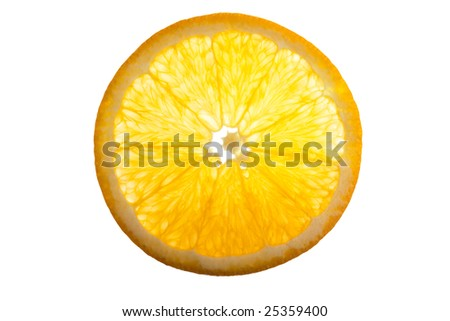 Backlit slice of an orange - showing the cross section of the fruit - stock photo