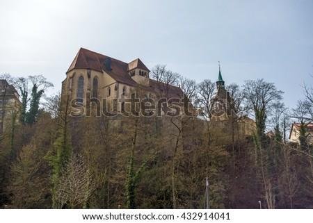 Backnang, Germany - April 03, 2016: Abbey church of Backnang above the city near town hall and market place.