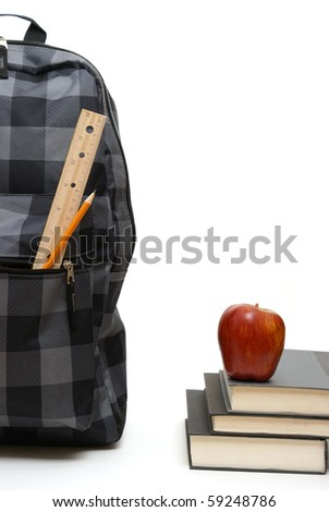 Backpack and Books - stock photo
