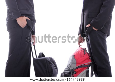 Backpack businessman talk with partner in the airport
