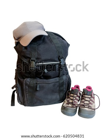 Backpack, cap  and shoes backpackers isolated on white background