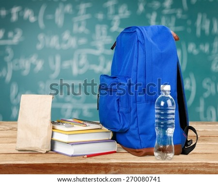 Backpack, Child, School Supplies. - stock photo