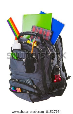 Backpack full of school supplies.  Shot on white background. - stock photo
