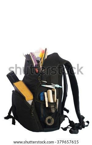 Backpack full of school supplies. Shot on white background.schoolbag with supplies for education - stock photo