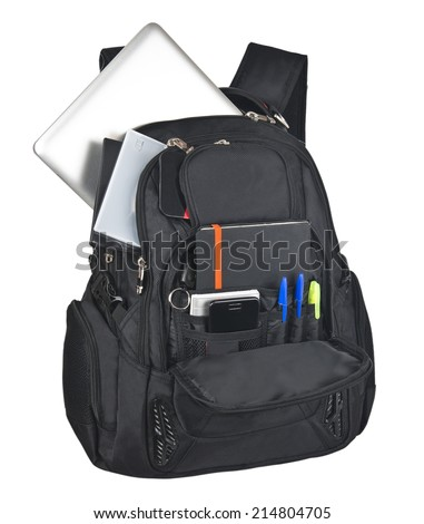backpack full of stationery isolated on white background