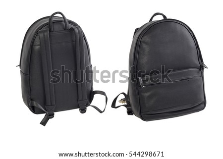 Backpack in black leather on a white background. Hand bag for travelers and the city. Two angle