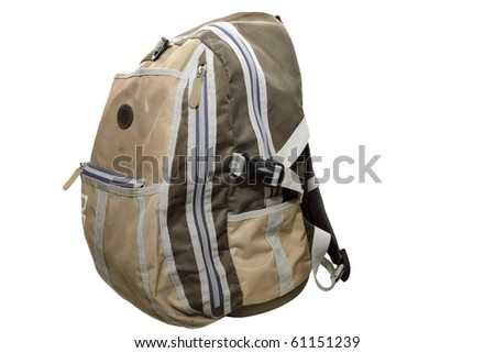 backpack isolated on a white background - stock photo