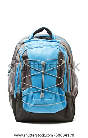 Backpack isolated on white background - stock photo