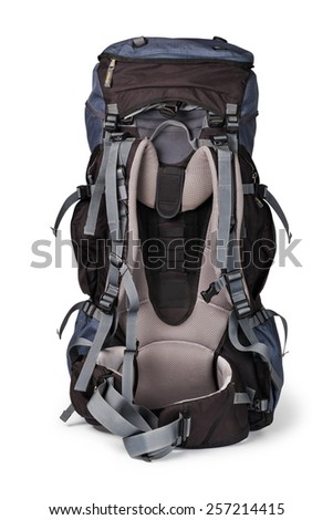 backpack, isolated over white - stock photo