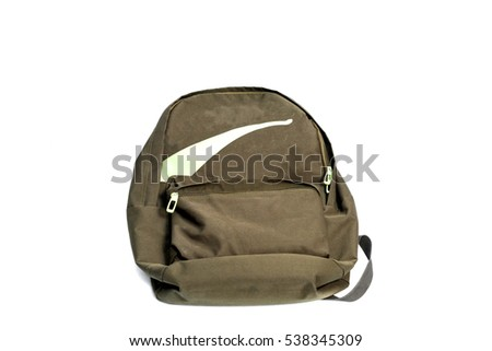 Backpack Olive Green isolated on white background.fabric Backpack.