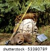 Backpack, rope, fly rod, cooking pots and boots ..... what else is there? - stock photo