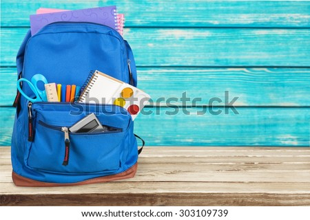Backpack, school, bag. - stock photo