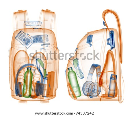 Backpack under xray on security control. - stock photo