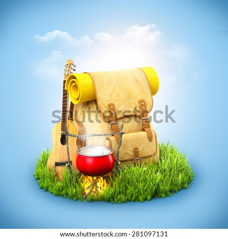 Backpack with giutar and Campfire on grass at blue background. Unusual travel background - stock photo