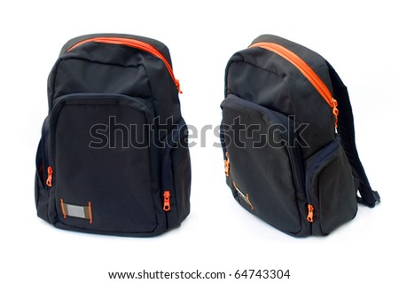 Backpack with red zipper, image is taken over a white background - stock photo