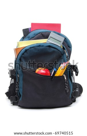 backpack with school supplies - stock photo