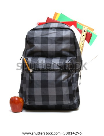 Backpack with Supplies - stock photo