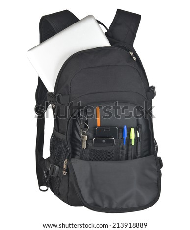 Backpack With Supplies on white background - stock photo