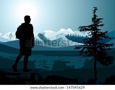 backpacker enjoying of a mountain valley view. Raster version of vector illustration