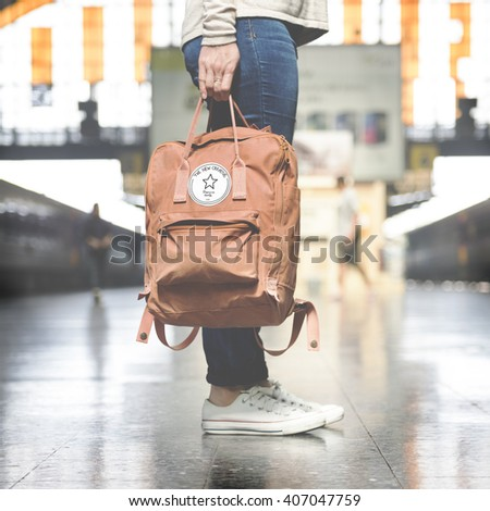 Backpacker Exploring Destination Casual Relax Concept - stock photo