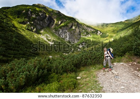 Backpacker girl tourist exploring the Tatra mountains national park, Poland.