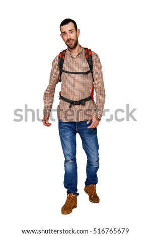 Backpacker man isolated over white background