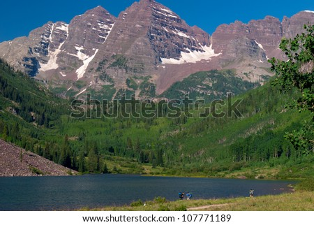Backpackers at the Maroon Bells - stock photo