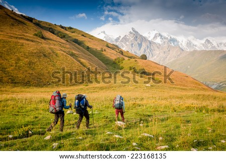Backpackers hiking on the path in mountains during summer - stock photo