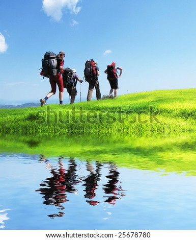 Backpackers  in Crimean mountain - stock photo