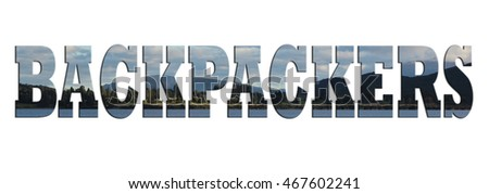BACKPACKERS wording with landscape background. Suitable for banner.