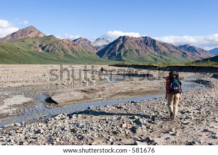 Backpacking in Denali - stock photo
