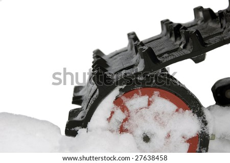 backpart of a snowmobilecarpet - stock photo
