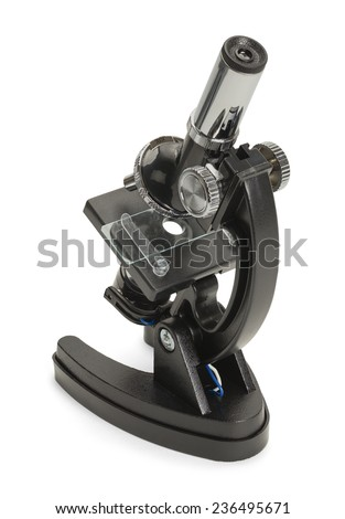 Backside of a Black Microscope Isolated on White Background.