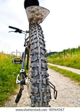 Backside of a mountain bike - stock photo