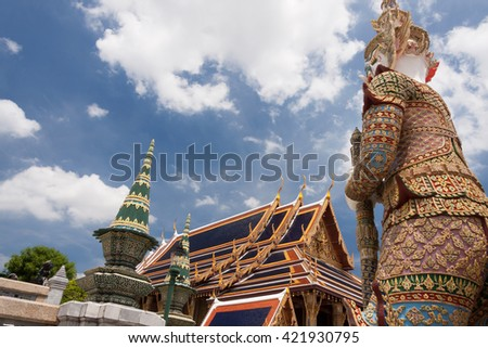 Backside of gian at buddhist temple. - stock photo