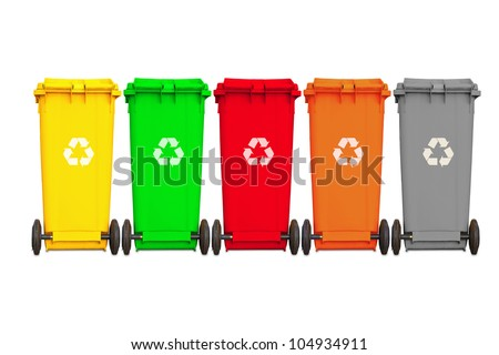 Backside of large five garbage bins with wheel  and recycle - stock photo