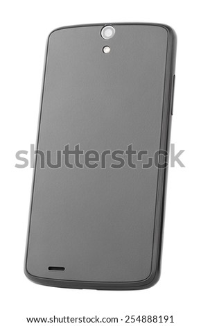 Backside of modern touch screen smartphone isolated on white with clipping path - stock photo