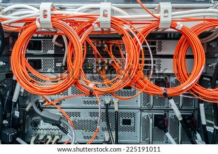 Backside of server rack  - stock photo