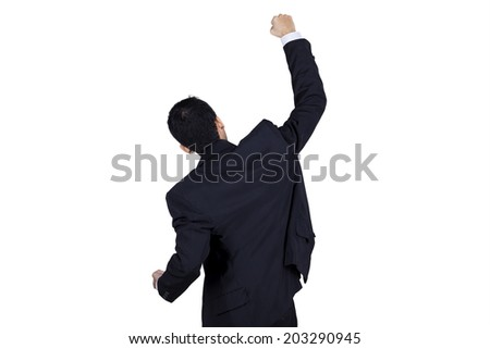 Backside of successful businessman expressing success. isolated on white background - stock photo