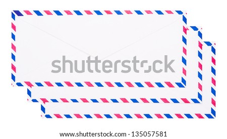 Backside of vintage envelope isolated on white background