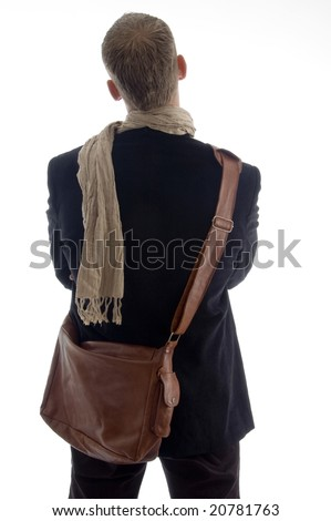 backside portrait of young male on an isolated white background - stock photo