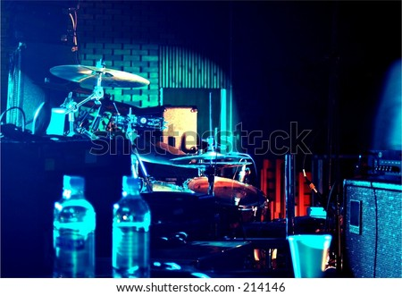 backstage equipment at a music venue - stock photo