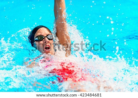 Backstroke swimming - Female athlete swimming backstroke. High speed action shot - stock photo