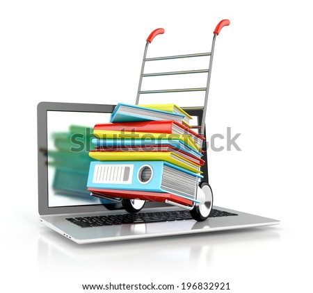 backup concept. files in database, folders, books with laptop. 3d illustration isolated on white background - stock photo