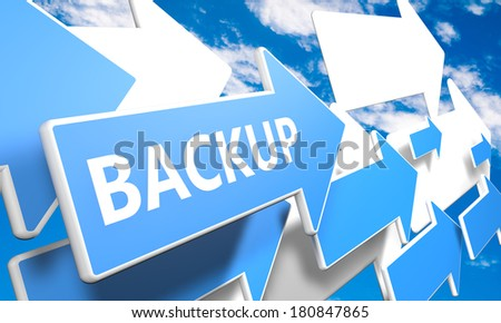 Backup 3d render concept with blue and white arrows flying in a blue sky with clouds - stock photo