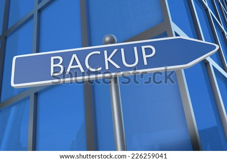 Backup - illustration with street sign in front of office building.