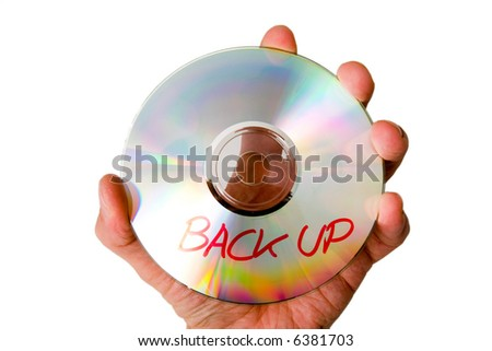 Backup in hand - stock photo