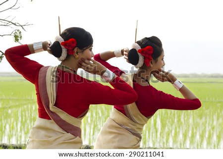 Backview of Bihu dancers - stock photo