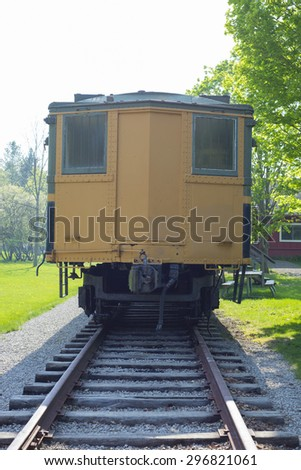 Backview of vintage train wagon on a old station, sulphur springs, Ontario, Canada - stock photo
